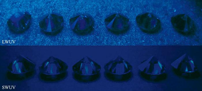 Fig.7 長波紫外線(上)および短波紫外線(下)でのCVD合成ダイヤモンドの蛍光。(ほとんど不活性)
