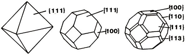 図6 ダイヤモンド結晶外形の模式図。面の方位が{}で表記されている。