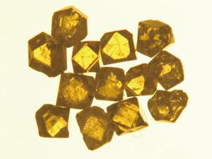 図3 高圧合成ダイヤモンド。 {111}面と{100}面からなる。