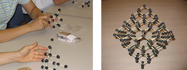 図1 ダイヤモンドの結晶模型。 (左) のように黒い玉を繋いでいくと(右)のような模型ができる。