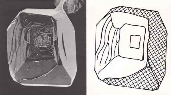 図10 成長中に金属触媒から部分的に飛び出たダイヤモンド。 模式図のハッチ部分が金属触媒に埋まっており、その他の部分が飛び出ていた。