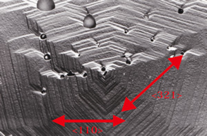 図20 リンから成長したダイヤモンド{111}面上の成長丘。成長ステップが<110>方向から外れている。