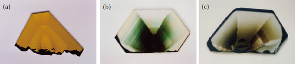図4 合成ダイヤモンドの着色の金属触媒依存性。(a) Ni, (b) Ni-2%Ti, (c) Ni-3%Ti 。ニッケル触媒にチタンを添加することで色が変化する。