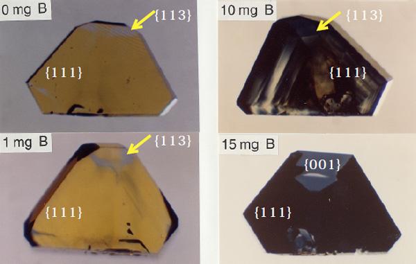 図5 ホウ素添加による青色着色の成長セクター依存性。ホウ素添加量の増加に伴い青色が濃くなっているが、成長セクターにより着色が異なる。