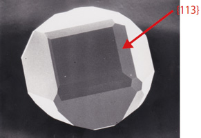 図8 {113}面のみられる高圧合成ダイヤモンド。