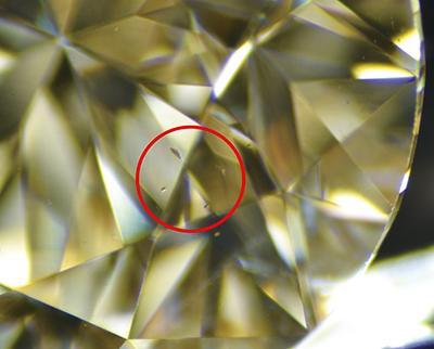 図3:検査したすべての試料に非ダイヤモンド状炭素と思われる不定形の黒色包有物が見られた。
