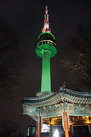 ソウル市のシンボルともいえるソウルタワーの夜景
