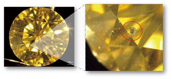 図2:黄色HPHT 合成ダイヤモンド。0.066ct, Fancy Vivid Yellow, SI1