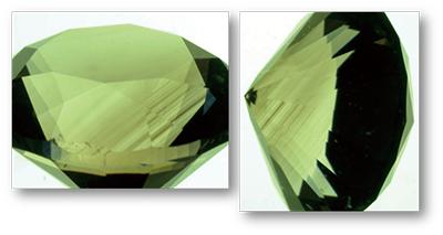 図3:褐色CVD合成ダイヤモンドに見られた1方向のみの明瞭な褐色の色帯