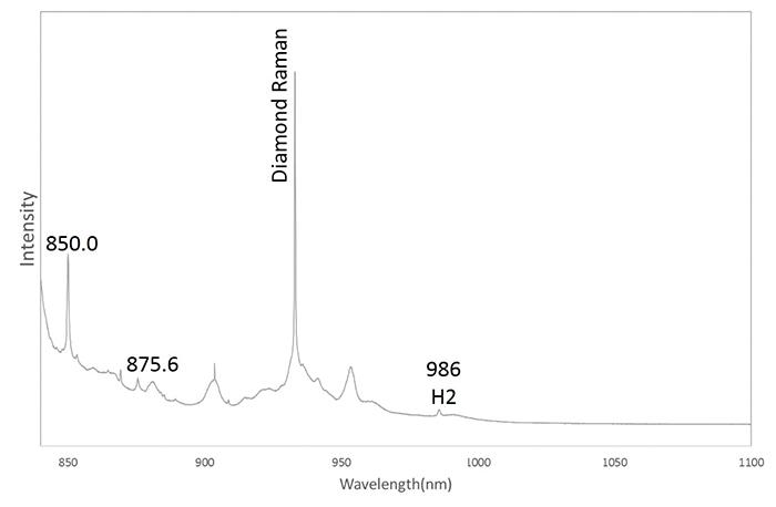 図10:830nmレーザー励起によるPLスペクトル。850nm、875.6nmおよび986nm (H2)が検出された
