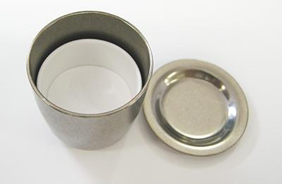 図3:加熱処理に用いたるつぼ (ジルコニウムるつぼの中にムライト質磁製るつぼを配置)