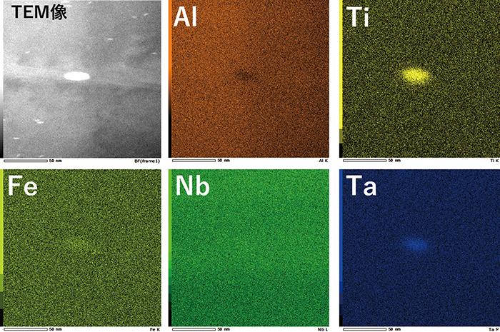 図7 ナノインクルージョンとその周辺の元素マッピング結果。左上から右にTEM像(明視野)、Al、Ti、左下から右にFe、Nb、Taをマッピングしたもの