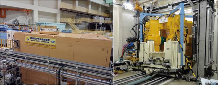 図4:大強度陽子加速器施設(J−PARC)の物質・生命科学実験施設(MLF)に設置された超高圧中性子回折装置PLANET (左)ビームラインの外観(右)PLANETビームラインに設置された大型マルチアンビル高圧発生装置(圧姫)