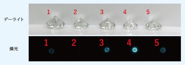 図3:グループAに50.0 x 1015e–/cm2の電子線を照射した後の地色と燐光画像
