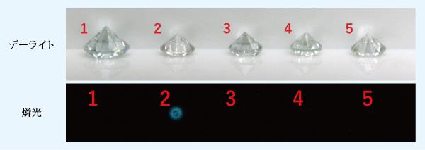 図4:グループBに100.0 x 1015e–/cm2の電子線を照射した後の地色と燐光画像