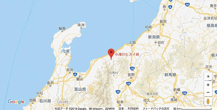 図2–1:小滝川ヒスイ峡(小滝川硬玉産地)の位置