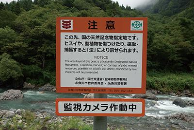 図 7:天然記念物保護の注意書き