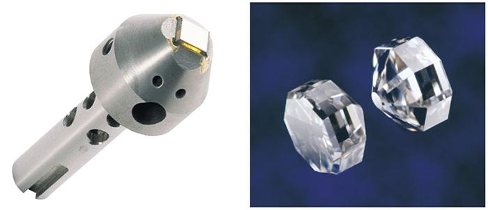 図3:ダイヤモンド工具:ボンディングツール(左)とアンビル用(右)(住友電工総合カタログより)
