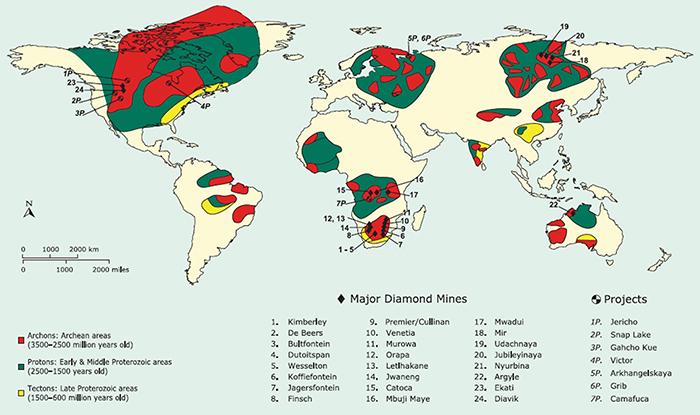 Fig.1. 世界のダイヤモンド鉱山(Janse 2007より)