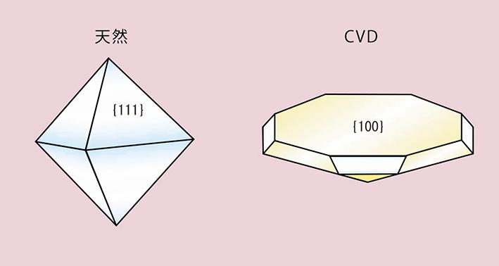 図19. 天然ダイヤモンドとCVD法合成ダイヤモンドのモルフォロジー