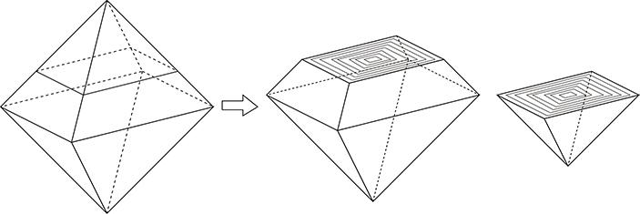 図4. 八面体原石から大小2つのカット石を取るイメージ