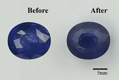 Three examples of sapphires before and after HT+P treatment. Photos: GIT.