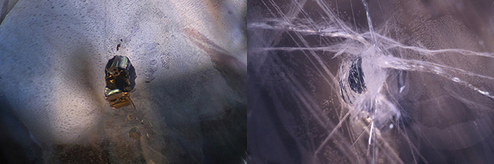 Pressure-heated sapphire before (left) and after (right) treatment. In this case, the treatment caused serious damage to the stone.Photos: GIT.