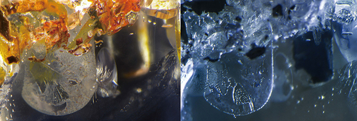 Pressure-heated sapphire before (left) and after (right) treatment. In this case, after heating with pressure the iron staining was gone, while the fissure in the middle partially healed, but was still quite visible. Photos: GIA.